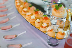 Rolls with red caviar Stock Photo