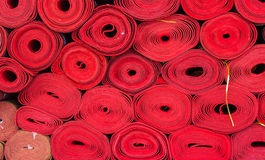 Rolls of red mat Stock Photography