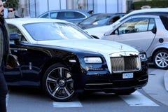 Rolls Royce in bianco e nero nel Monaco Immagine Stock Libera da Diritti
