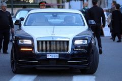 Rolls Royce in bianco e nero nel Monaco Fotografie Stock