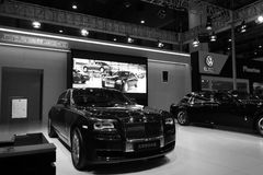Rolls-royce booth black and white image Royalty Free Stock Photo