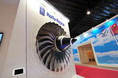 Rolls-Royce booth showcasing its trent fan blades at Singapore Airshow Royalty Free Stock Image