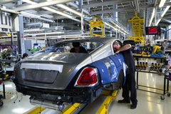 Rolls-Royce cars stand on production line in Goodwood factory Stock Photos
