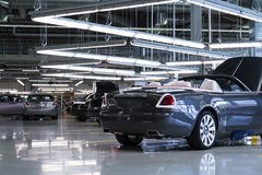 Rolls-Royce cars stand on production line in Goodwood factory Stock Photo