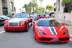 Rolls-Royce Drophead Coupe and Ferrari 458 Italia Speciale Stock Image