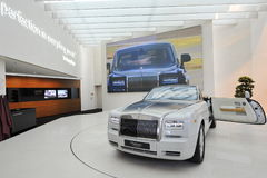 Rolls Royce Phantom Drophead Coupe on display in BMW Welt Stock Photos