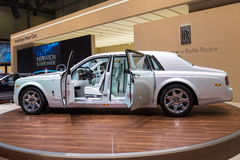 2015 Rolls-Royce Phantom Serenity. Geneva, Switzerland - March 4, 2015: 2015 Rolls-Royce Phantom Serenity presented on the 85th International Geneva Motor Show Royalty Free Stock Photos
