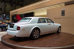 2015 Rolls-Royce Phantom Serenity. Geneva, Switzerland - March 4, 2015: 2015 Rolls-Royce Phantom Serenity presented on the 85th International Geneva Motor Show Royalty Free Stock Photo