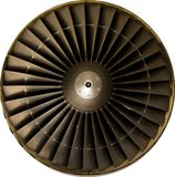 Jet engine. Clappered fan blades of a Rolls Royce RB211-535E4 turbofan engine used on a Boeing 757, rated at 43,000 Lbs of thrust, isolated on white background Royalty Free Stock Photos