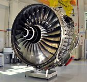 Rolls Royce Trent 500. A Rolls Royce Trent 500 turbofan engine. Trent 500 is certified to 60,000 lbs thrust output & derated on the Airbus A340-500/600. Modern royalty free stock image