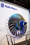Rolls-Royce trent swept fan blades at Airshow. Rolls-Royce presented their trent swept titanium alloy fan at Singapore Airshow, taken on 03 Feb 2010 Royalty Free Stock Photography