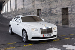 Rolls-Royce Wraith in Abu Dhabi. ABU DHABI, UAE - MARCH 29: Rolls-Royce Wraith at the Etihad Towers Hotel in Abu Dhabi on march 29 2014. Abu Dhabi is one of the Royalty Free Stock Photos