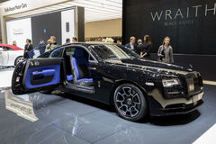 Rolls-Royce Wraith Black Badge car. GENEVA, SWITZERLAND - MARCH 8, 2017: Rolls-Royce Wraith Black Badge car presented at the 87th Geneva International Motor Show Stock Photos