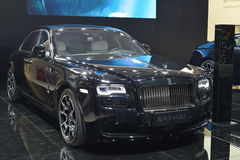 Rolls-Royce Wraith Black Badge. Guangzhou, China - November 19, 2016: The Rolls-Royce Wraith Black Badge supercar was exhibited in the 14th China Guangzhou Royalty Free Stock Photo