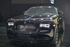 Rolls-Royce Wraith Black Badge. Guangzhou, China - November 19, 2016: The Rolls-Royce Wraith Black Badge supercar was exhibited in the 14th China Guangzhou Stock Image
