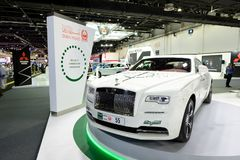 The Rolls Royce Wraith of Dubai Police car is on Dubai Motor Show 2017. DUBAI, UAE - NOVEMBER 18: The Rolls Royce Wraith of Dubai Police car is on Dubai Motor Royalty Free Stock Photo