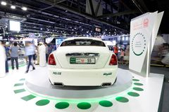 The Rolls Royce Wraith of Dubai Police car is on Dubai Motor Show 2017. DUBAI, UAE - NOVEMBER 18: The Rolls Royce Wraith of Dubai Police car is on Dubai Motor Stock Photos