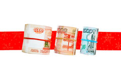 Rolls of russian banknotes with gift ribbon Stock Photography
