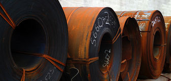Rolls of rusted sheet metal Stock Photography