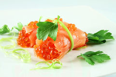 Rolls of salmon with caviar Royalty Free Stock Photography