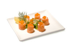 Rolls salmon caviar hiyashi wakame Stock Photo
