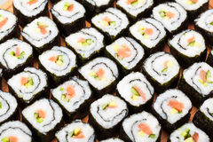 Rolls with salmon close-up Royalty Free Stock Image