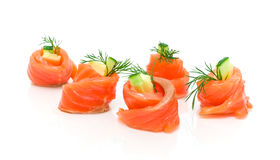 Rolls salmon with cucumber and cheese isolated on white backgrou Royalty Free Stock Image