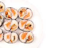 Rolls with a salmon and eel Stock Photography