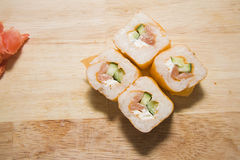 Rolls with salmon Royalty Free Stock Photo