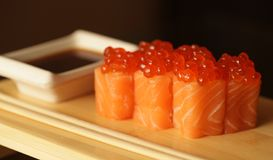 Rolls with salmon and red caviar Stock Image