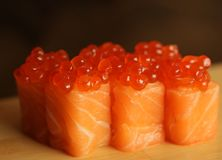Rolls with salmon and red caviar Stock Images