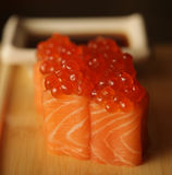 Rolls with salmon and red caviar royalty free stock photos