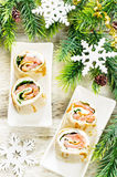 Rolls with salmon, spinach and cream cheese Stock Photos