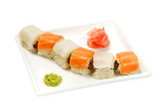rolls with salmon and squid Royalty Free Stock Images