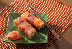 Rolls with  salmon and  tuna Royalty Free Stock Images