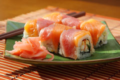 Rolls with  salmon and  tuna Stock Photo