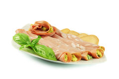 Rolls with sausage. Rolls with Italian sausage, mortadella and avocado Royalty Free Stock Photos