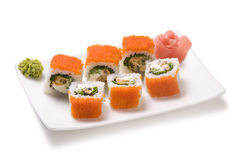 Rolls with sea food and fish roe Royalty Free Stock Photography