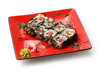 Rolls with seaweed, salmon and octopus Royalty Free Stock Photos