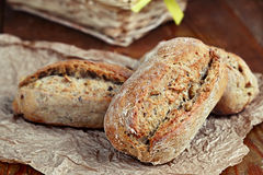 Rolls with seeds. Close up of healthy wholegrain crispy bread Royalty Free Stock Photography
