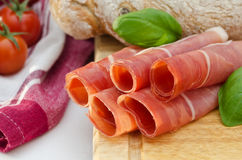 Rolls of serrano ham Stock Photos