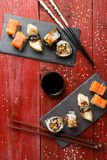 Rolls served at red table Royalty Free Stock Image