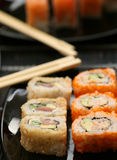 Rolls with shrimp, crab and avocado Stock Image