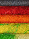 Rolls of sisal. Multicoloured rolls of decorative sisal for creative works royalty free stock images