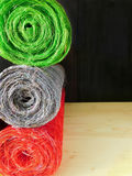 Rolls of sisal. Multicoloured rolls of decorative sisal for creative works stock photography