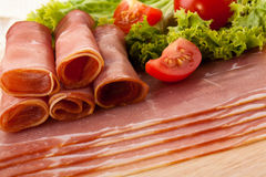 Rolls with smoked ham Stock Photography