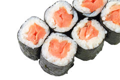 Rolls with smoked salmon Royalty Free Stock Images