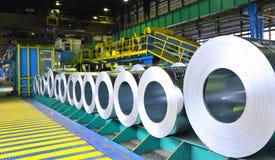 Rolls of steel. Sheet in deposit royalty free stock photos