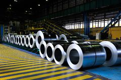 Rolls of steel sheet. In a warehouse Stock Photos