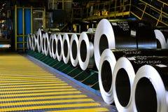 Rolls of steel sheet. In a warehouse Stock Photo